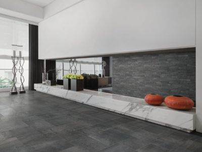 Marble ledge in living room with decorations on top